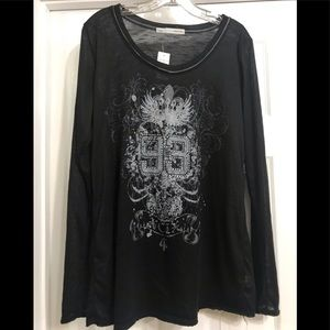 BNWT MAURICE'S WOMANS BURN OUT LONG SLEEVE TOP XL